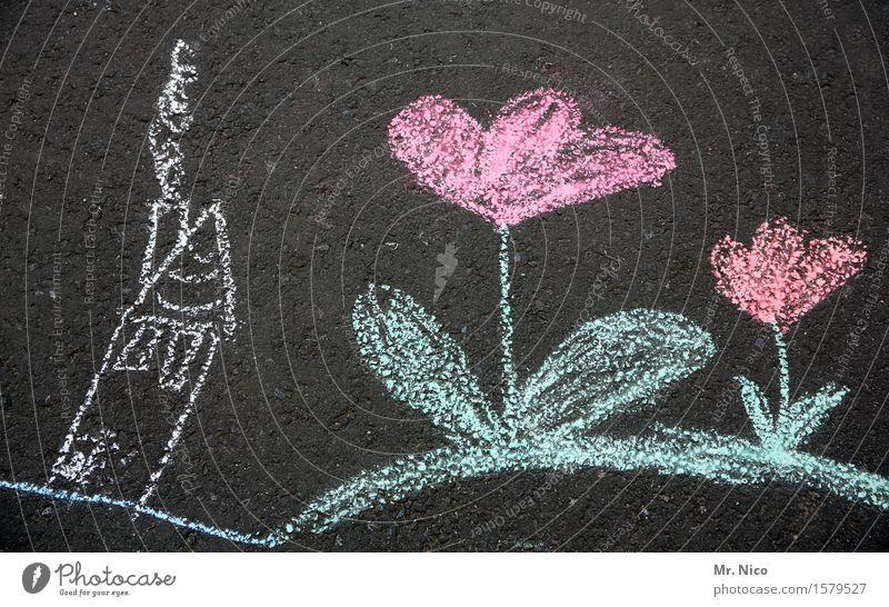 im land der riesenblumen Blume Haus zeichnen Strassenmalerei Comic Kreide Kindheit Straße malen Spielen Freude Kinderspiel Blühend träumen rot rosa Kreativität