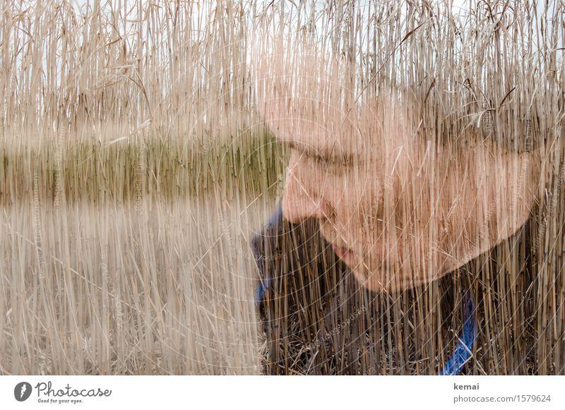 Selbstportrait | Stroh im Kopf Mensch Frau ruhig Gesicht Erwachsene Umwelt Leben Traurigkeit feminin Denken träumen Feld Gelassenheit Sorge Liebeskummer