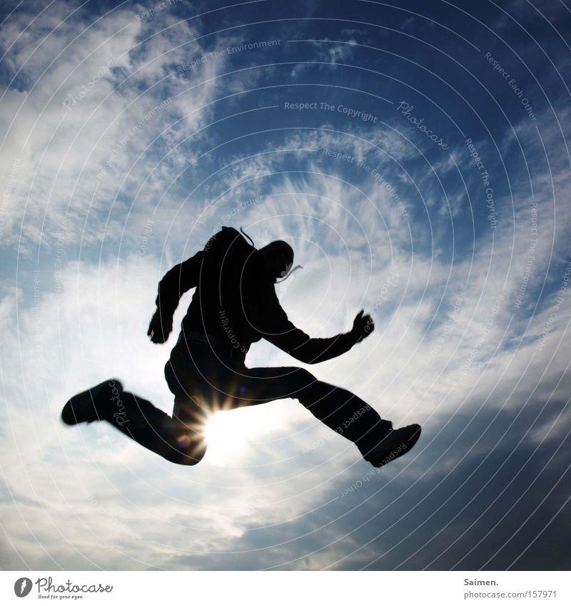 """Freudensprung: """"deluxe-version"""" Himmel Wolken Leben Spielen Freiheit Bewegung Glück springen Zufriedenheit Unendlichkeit Schatten Erleichterung unbegrenzt"""