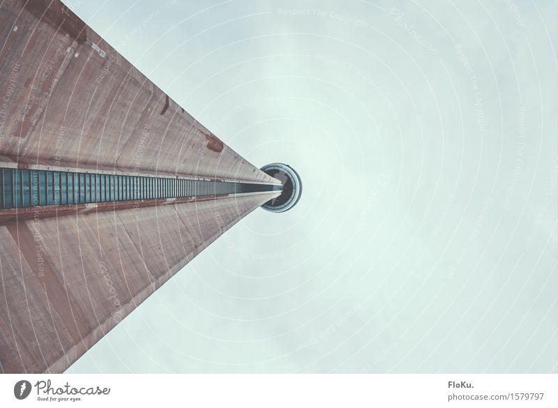 Blick nach oben in Toronto Ferien & Urlaub & Reisen Stadt Architektur Gebäude grau Fassade Tourismus Hochhaus hoch groß Beton Turm Bauwerk Skyline Pfeil