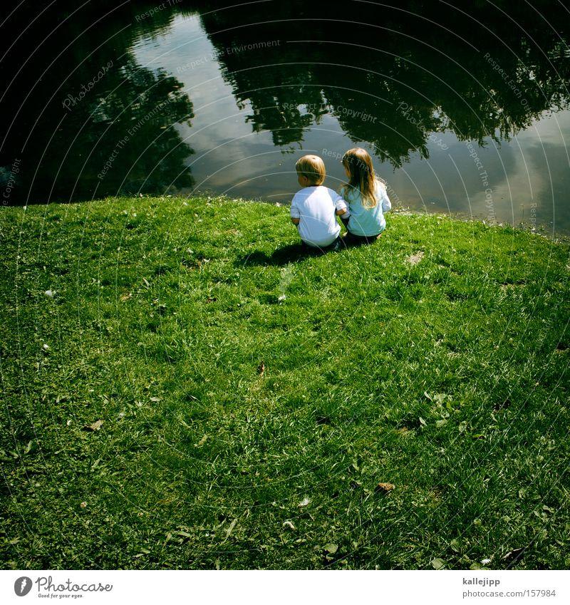 insulaner Kind Wasser Mädchen Junge Gras See Freundschaft Küste Fluss Insel Bildung Kindheit Inseln