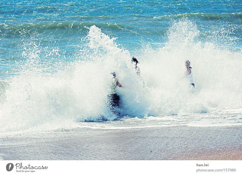 Abkühlung Wasser Meer Sommer Wand Wellen Kraft Schwimmen & Baden Macht sportlich Schaum spritzen gewaltig