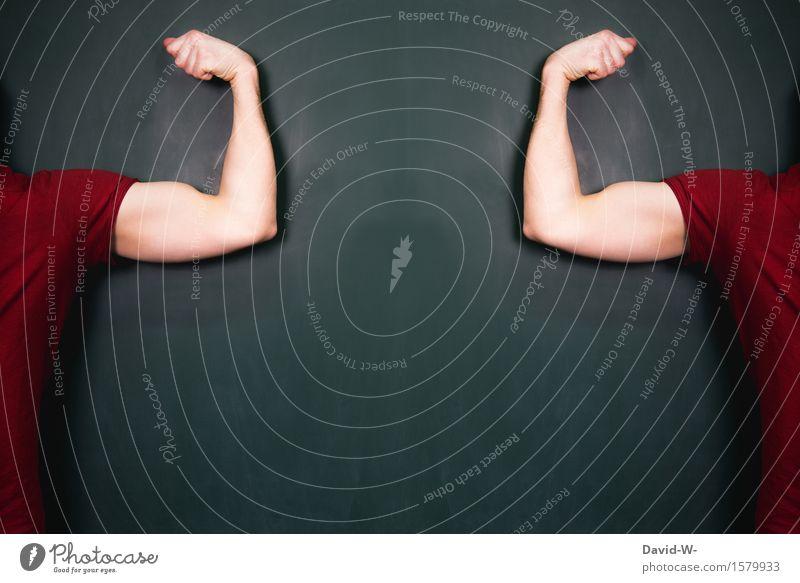 Kraft Mensch Jugendliche Mann Junger Mann Erwachsene Leben Sport Kunst maskulin Körper Kraft Arme Kreativität Sicherheit Wachsamkeit Tafel