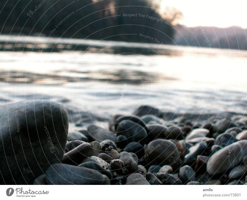 Steine am Rhein Fluss Kies Gewässer