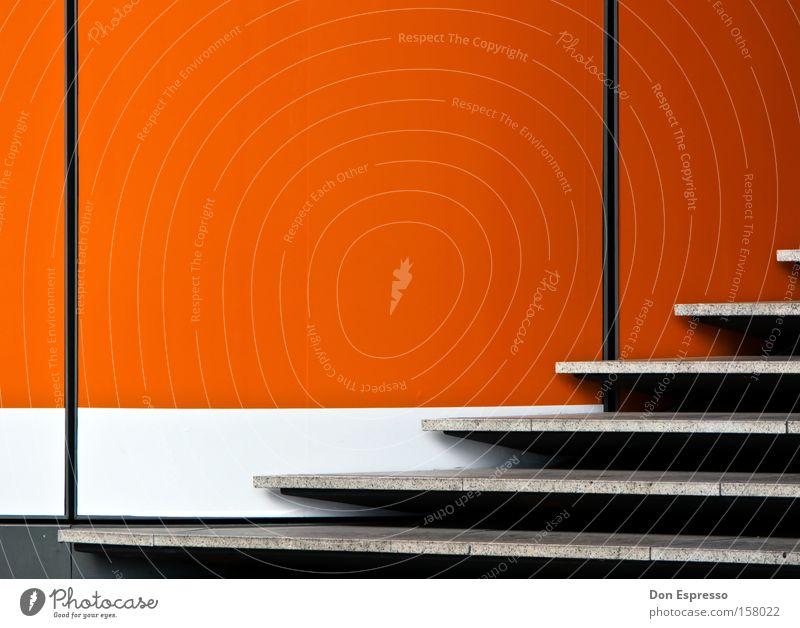 ORANJE weiß rot Farbe Wand grau Gebäude Lampe Linie orange Treppe leuchten einfach Grafik u. Illustration graphisch sehr wenige simpel