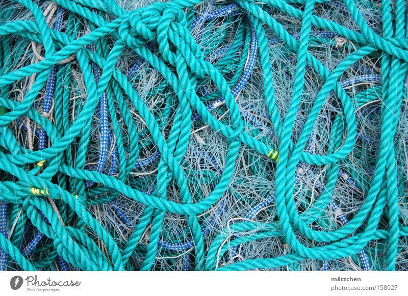 Endlosschleife blau Seil Netz Hafen Handwerk durcheinander Knoten Fischereiwirtschaft Schlaufe Angelschnur Fischernetz gordischer Knoten