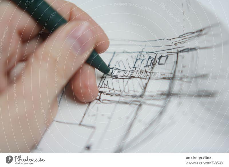 skizzieren Entwicklung Architektur Linie Papier planen Gemälde Handwerk zeichnen Schreibstift Zettel Zeichnung Entwurf Kunst Stadtentwicklung