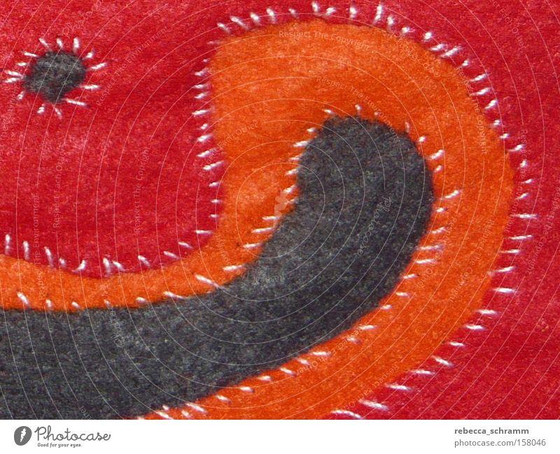Mola-Technik rot orange Kunst Bekleidung Stoff Kultur Muster Handwerk Textilien Nähen Filz