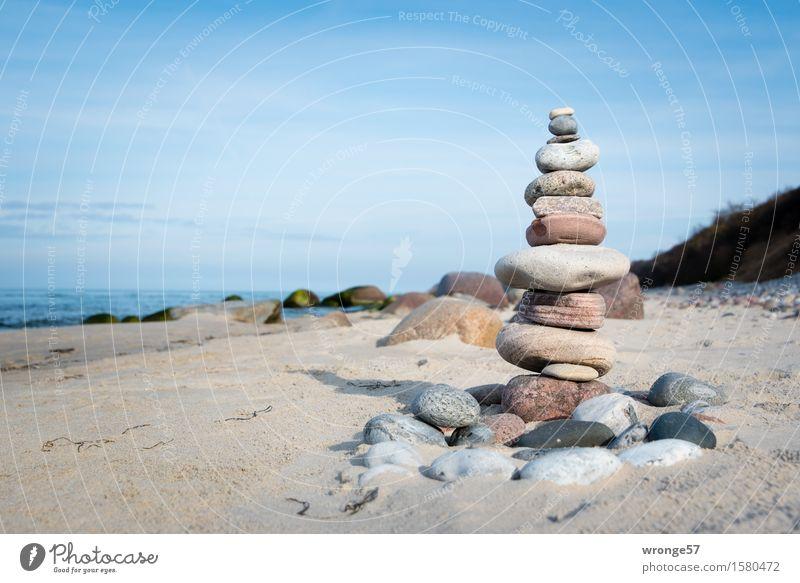 Zuwanderer Himmel blau Sommer Wasser weiß Landschaft Strand Herbst Frühling Küste grau Stein braun Sand Horizont Luft