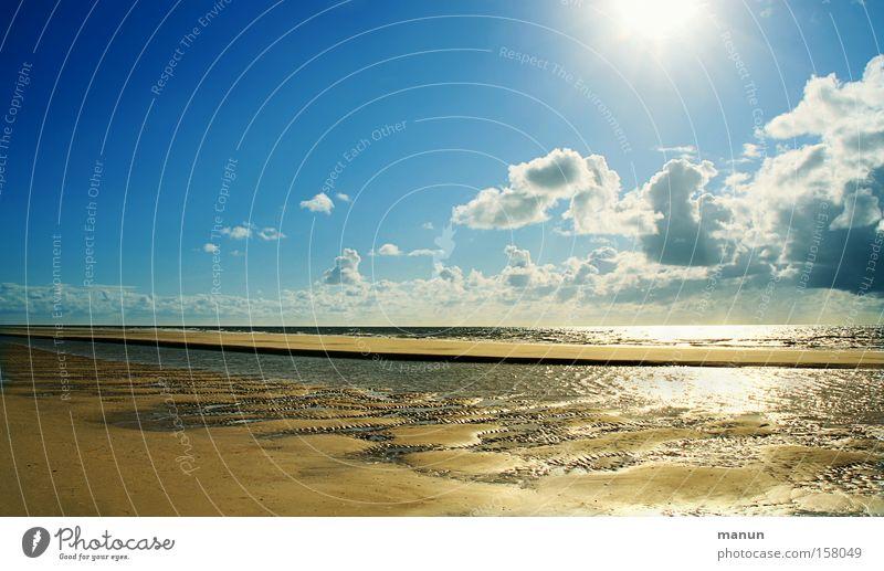 Wattgold Himmel blau Ferien & Urlaub & Reisen Sonne Sommer Meer Strand Wolken ruhig Ferne Erholung Landschaft Freiheit Wärme Sand Küste