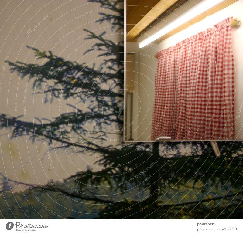 Raum. Tapete mit waldmotiv, im Spiegel spiegelt sich ein rot-weiß karierter Vorhang und eine Neonröhre. Geschmacksverirrung, sanierungsbedarf. Farbfoto