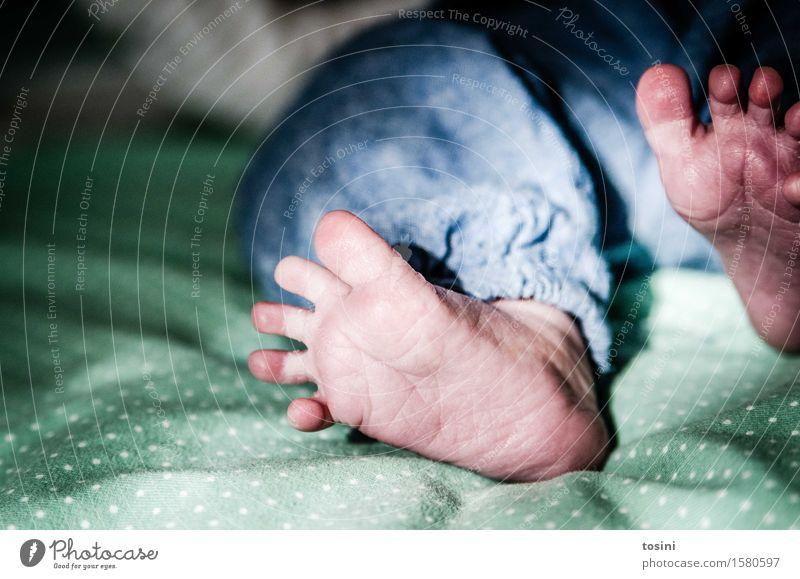 Füßchen Fuß Baby grün gepunktet blau Schwache Tiefenschärfe Unschärfe Hosenbund Zehen Barfuß Falte winzig schön Fußspur Wege & Pfade CO2-Ausstoß einzigartig