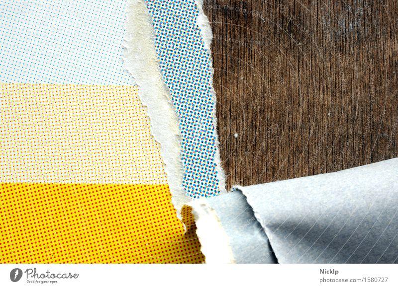 Tapetenwechsel Papier Holz Ornament Linie ästhetisch retro trashig blau braun gelb rot Raster Druckerzeugnisse Siebdruck CMYK gerissen Plakatwand Farbfoto