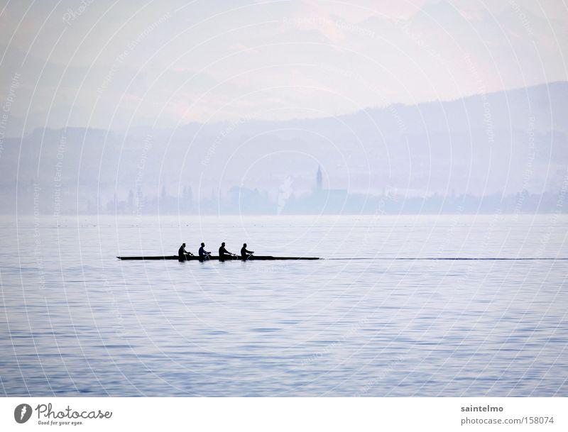 diffuser Morgensport Rudern Seeufer Wasserfahrzeug Küste Sportmannschaft Stimmung Team 4 Kraft Sport-Training blau Wassersport Sportveranstaltung Konkurrenz
