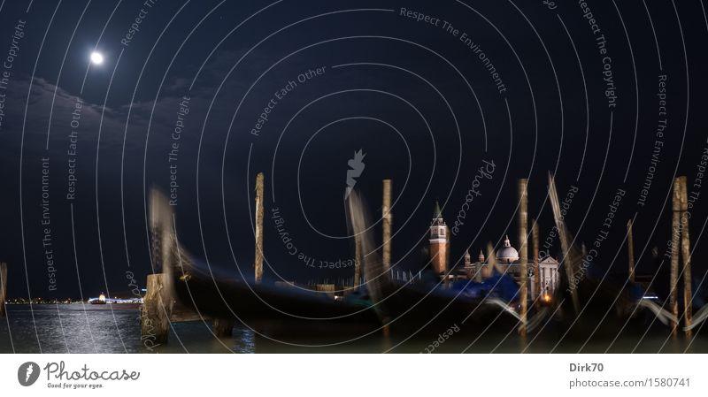 Venezianisches Panorama, klassisch, des nachts Ferien & Urlaub & Reisen Städtereise Nachthimmel Mond Vollmond Frühling Schönes Wetter Lagune Laguneninseln