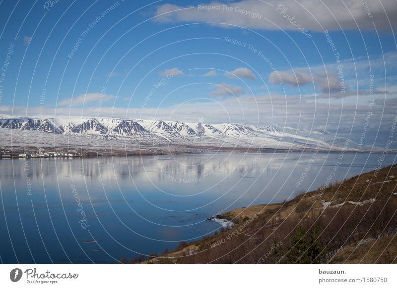 norden. Himmel Natur Ferien & Urlaub & Reisen blau schön Wasser Sonne Landschaft Wolken Ferne Winter Berge u. Gebirge kalt Umwelt Frühling Schnee