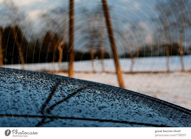 Spiegeltropfen Himmel Baum blau Winter Wolken Einsamkeit Schnee Traurigkeit PKW Regen Wassertropfen Elektrizität KFZ Dach Spiegel