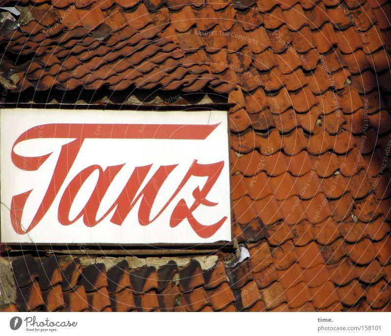 HL08 - Danz op de Deel Haus Dach Schilder & Markierungen Hinweisschild Warnschild alt rot Holzschindel zementiert parallel Dachgaube Reihe Anordnung Anzeige