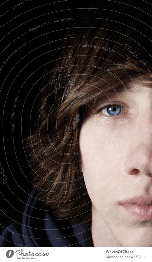 Untamed Jugendliche blau Gesicht Auge Haare & Frisuren Mund braun Nase leer Konzentration Selbstportrait Hälfte