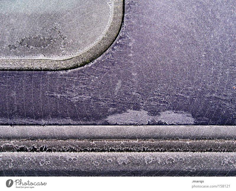 Dicht Winter kalt PKW Eis Metall Verkehr geschlossen KFZ Dach violett gefroren Eiskristall Gummi