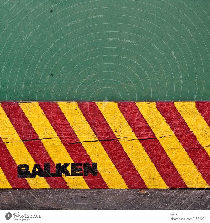Voll schräg grün rot gelb Holz Schilder & Markierungen Hinweisschild Streifen Warnhinweis diagonal Wort gestreift graphisch Warnschild Wechseln Balken Großbuchstabe