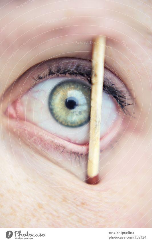 wachbleiben grün Auge Streichholz Pupille wach Regenbogenhaut Gesicht Optik Entzug Schlafmangel