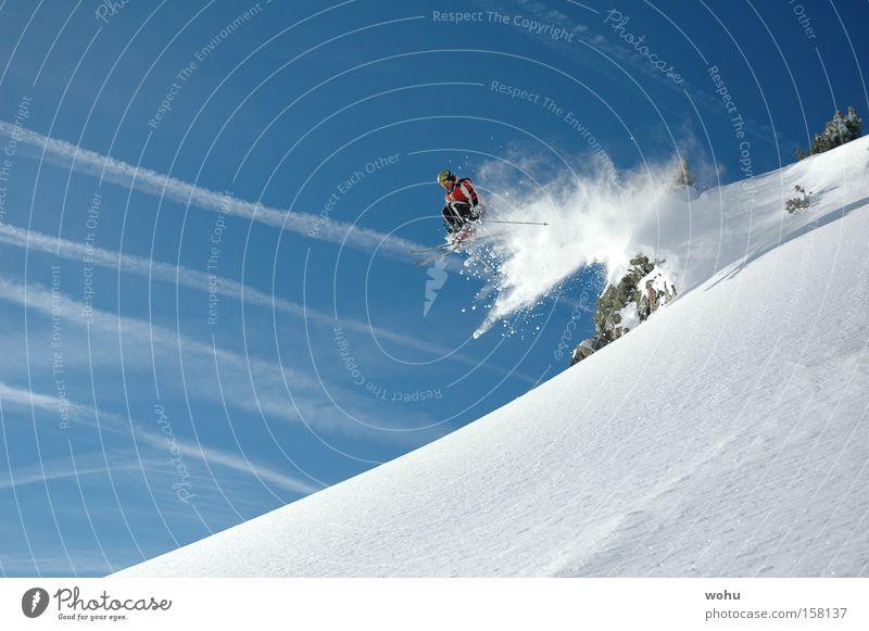 vollsau Skifahren Skifahrer Schnee Schneefall Skier springen fliegen Berge u. Gebirge Wintersport Freude Freestyle extrem Dynamik Luft Trick Blauer Himmel
