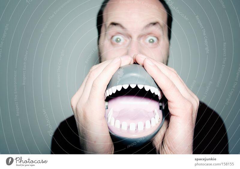 My mouth Freude Mund lustig gefährlich Zähne Gebiss Spielzeug schreien Kunststoff Mensch skurril Freak Zunge Humor laut