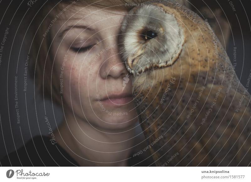 owl Frau Erwachsene 1 Mensch 18-30 Jahre Jugendliche blond kurzhaarig Wildtier Totes Tier Eulenvögel Kauz außergewöhnlich wild weich Akzeptanz Vertrauen
