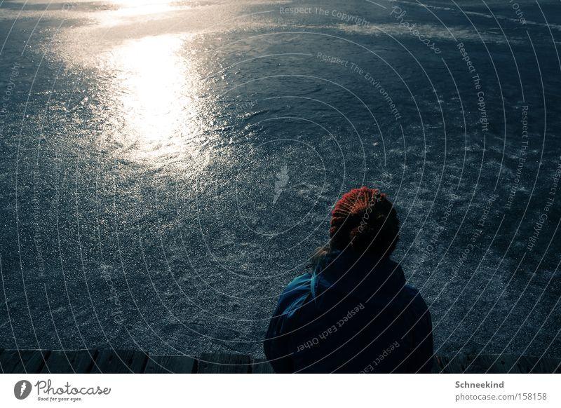 LAKE Marktl! Mensch schön Sonne Winter kalt Erholung See Eis ästhetisch Frieden Freizeit & Hobby Mütze Langeweile