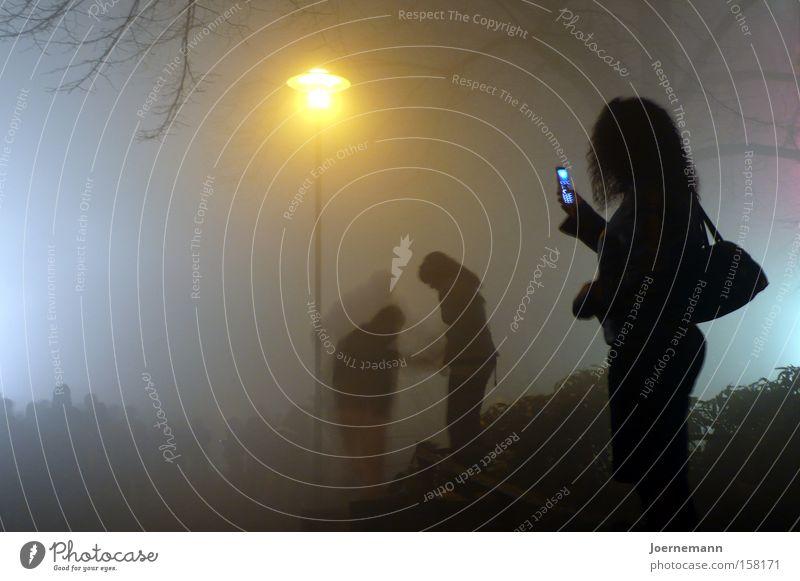 Handygirl Mensch Frau Jugendliche Stadt 18-30 Jahre Erwachsene feminin Nebel stehen Telefon Laterne Gesäß Handy sprechen Telefongespräch Nachtleben
