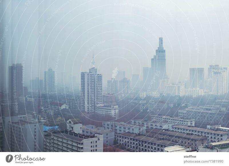 Around the World: Nanjing Ferien & Urlaub & Reisen Reisefotografie entdecken Tourismus China Skyline Hochhaus Smog Moloch Millionenstadt Klimawandel trüb