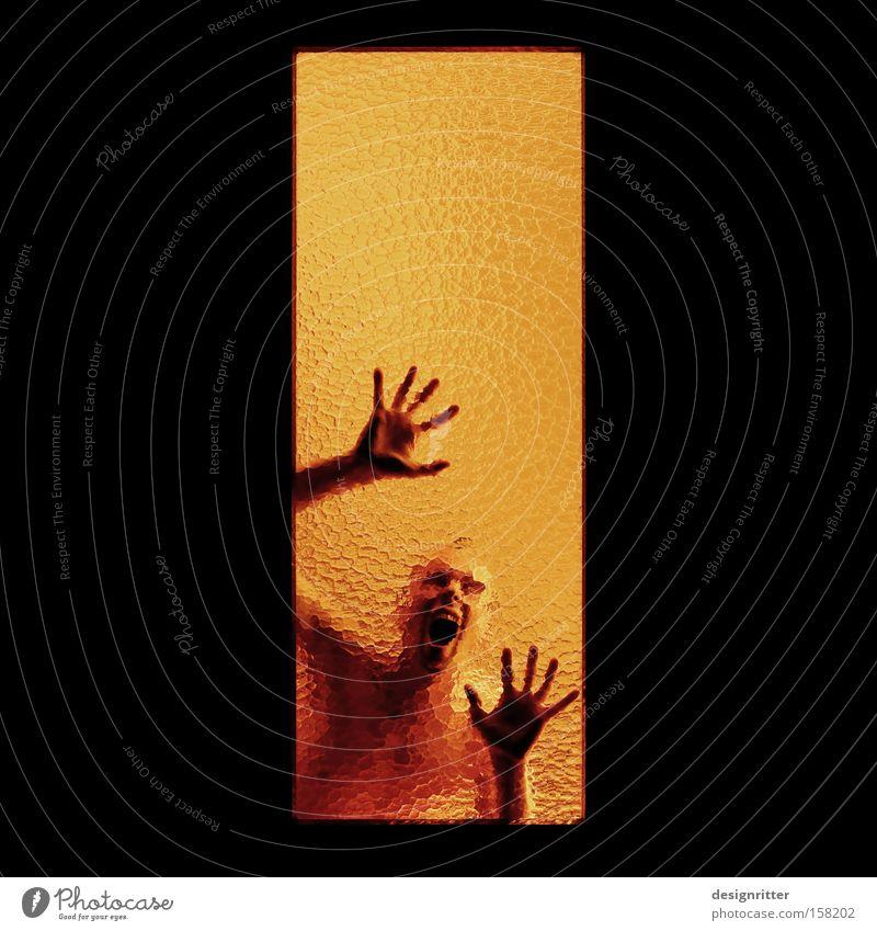 gefangen Fenster Angst Suche Aussicht schreien Neugier durchsichtig Panik Interesse Hilferuf unklar Sucht Platzangst schemenhaft Ausbruch