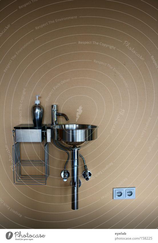 Wascheinheit Waschbecken Seife Wand Wasserhahn Steckdose Edelstahl Rostfreier Stahl Ablage Spender Abwasser Warmwasser Möbel Bad Metall kaltwasser