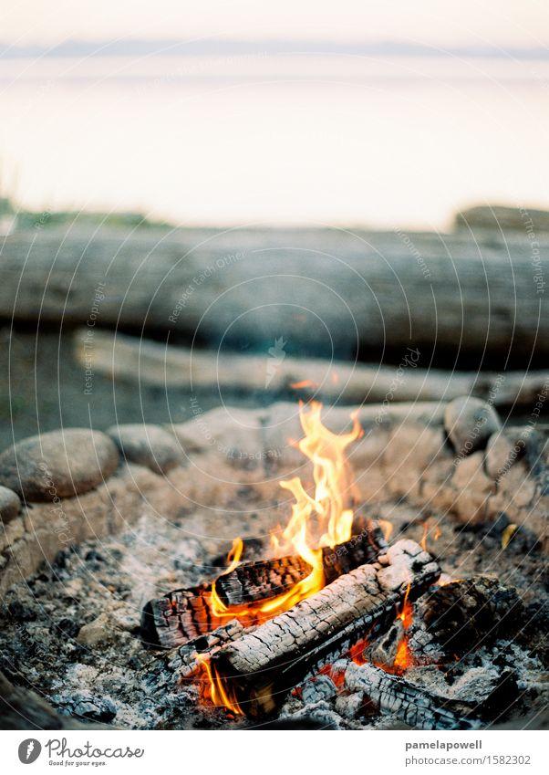 Lagerfeuer am Strand Lifestyle ruhig Ferien & Urlaub & Reisen Camping Sommer Sommerurlaub Meer Insel Feuer Küste authentisch braun gelb grau orange schwarz