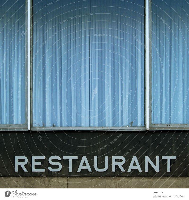 Restaurant blau schwarz Ernährung Fenster Lifestyle Schriftzeichen Bar Buchstaben Gastronomie Restaurant Dienstleistungsgewerbe Speise Appetit & Hunger Schriftstück genießen Typographie
