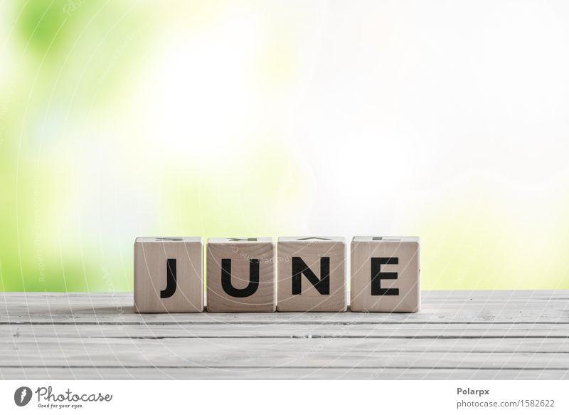 Juni-Zeichen auf Holzklötzen Natur grün Sommer weiß Spielen Design Körper Kreativität Tisch Symbole & Metaphern Kalender Spielzeug Wort Schreibtisch Knöpfe