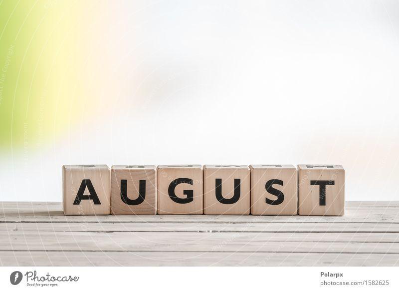 August-Zeichen auf hölzernen Würfeln Design Spielen lesen Ferien & Urlaub & Reisen Sommer Schreibtisch Schule Spielzeug Holz einfach grün Farbe Kreativität