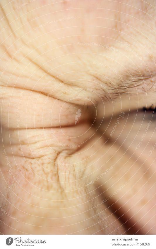 runkelnase Mensch alt lachen Haut Nase Hautfalten Grimasse Sommersprossen zusammengekniffen niesen