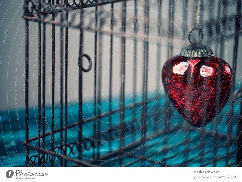 Rotes Herz Valentinstag Holz Metall Rost fangen Liebe retro schön blau rot Gefühle Verliebtheit Romantik Begierde Lust Sex Sehnsucht Farbe Idylle