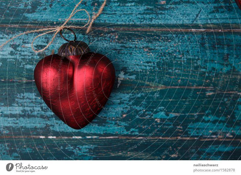 Rotes Herz Valentinstag Holz Glas Metall Rost Knoten Liebe retro schön blau rot türkis Romantik Glaube Farbe rein Symbole & Metaphern Käfig gefangen beziehung