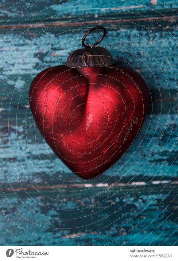 Rotes Herz Valentinstag Holz Glas Rost Liebe glänzend retro schön blau rot Sympathie Romantik Erotik Reinheit Liebeskummer Partnerschaft Glück Idylle rein