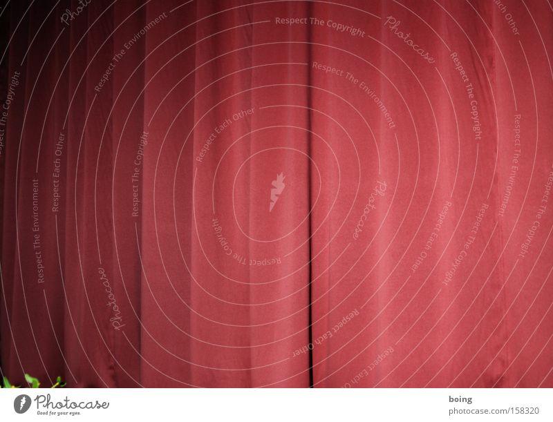 roter Vorhang geschlossen Filmindustrie Show Konzert Theater Bühne Kino Spannung Überraschung Spalte aufmachen Faltenwurf Leinwand Projektionsleinwand