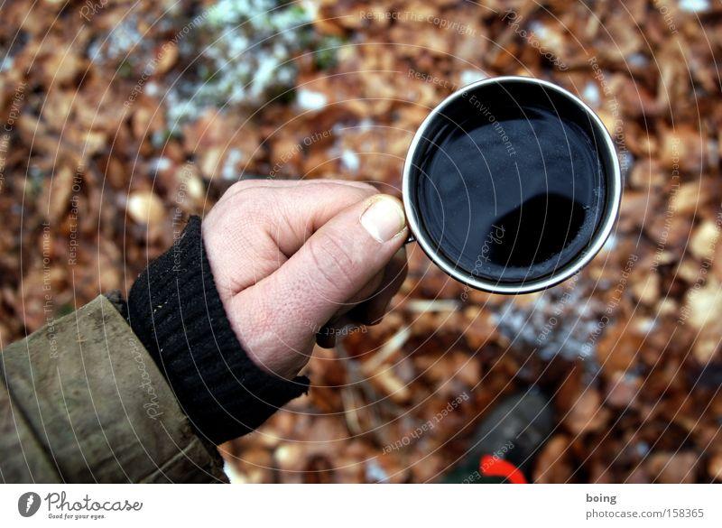 DIN EN 381 Kaffee Kaffeepause Thermoskanne kalt Holzfäller Schnittschutzhose Waldarbeiter Tasse heizen Schuhe Camping Sicherheit french pressed Forstarbeit