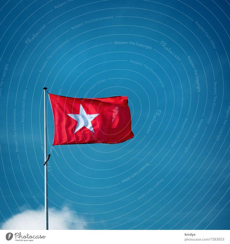 Identität Himmel Wolkenloser Himmel Wind Maastricht Niederlande Fahne Fahnenmast ästhetisch einfach frisch Originalität positiv blau rot weiß selbstbewußt loyal