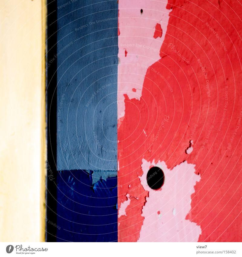 Bauhaus 09 blau rot ruhig gelb Farbe Raum Architektur Zeit Baustelle Vergänglichkeit obskur Stillleben fremd Lack Weimar Anstrich