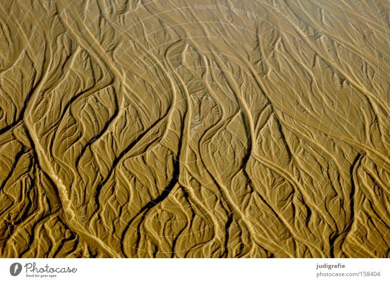 Strandformen Natur Meer Farbe Berge u. Gebirge Sand Küste Fluss Nordsee fließen Tal Sylt Wasserrinne spülen Flußmündung Delta