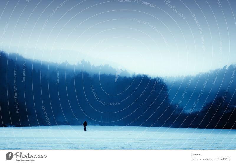 Einsame Runden Mensch Himmel blau Winter Einsamkeit Schnee Spielen Berge u. Gebirge See Eis gefroren fremd Schlittschuhlaufen Eiszeit Eisfläche