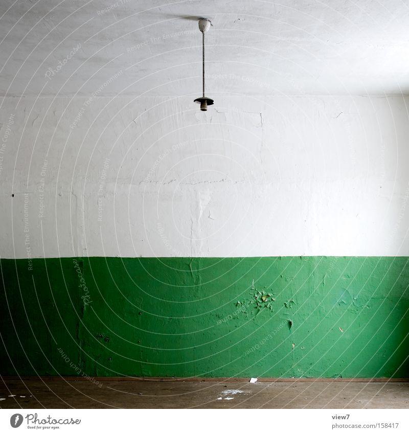 grün grün Farbe Wand Lampe Raum Ordnung leer Boden Bodenbelag Umzug (Wohnungswechsel) Tapete Verfall obskur Putz Örtlichkeit Lack