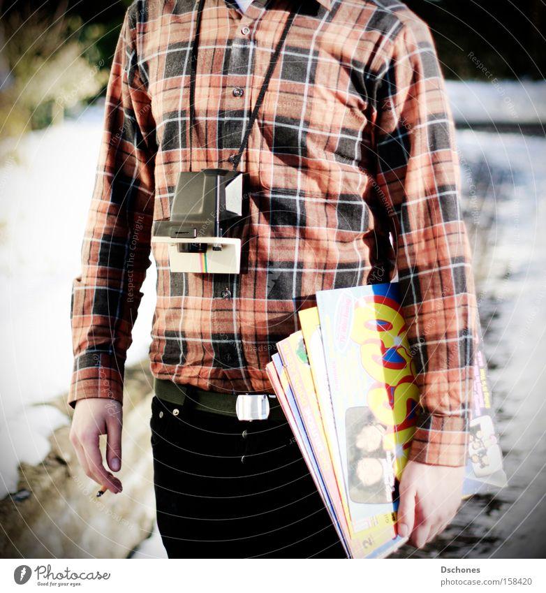 DISCOTOURIST. Tourist Polaroid Diskjockey Quadrat Musik Mann Schallplatte Konzert